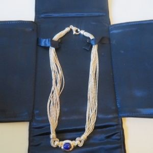 TIFFANY & CO. LAPIS & STERLING SILVER  NECKLACE